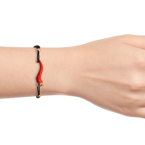 GP Red Chilli Bracelet (Size 6.5-9 Adjustable), Blue Sapphire in 14K Gold Overlay Sterling Silver