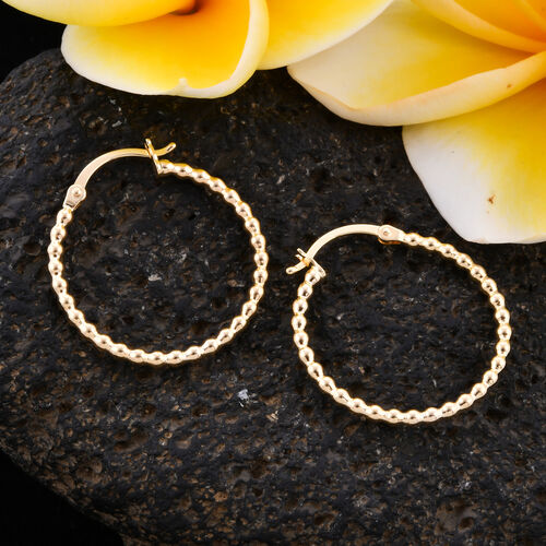 Royal Bali Collection- 9K Yellow Gold Ball Hoop Earrings with Clasp
