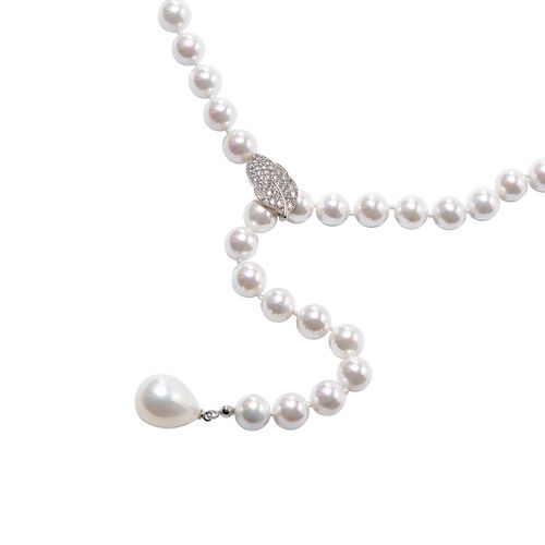 Designer Inspired- White Shell Pearl, Simulated Diamond Adjustable Beaded Necklace (Size 24)