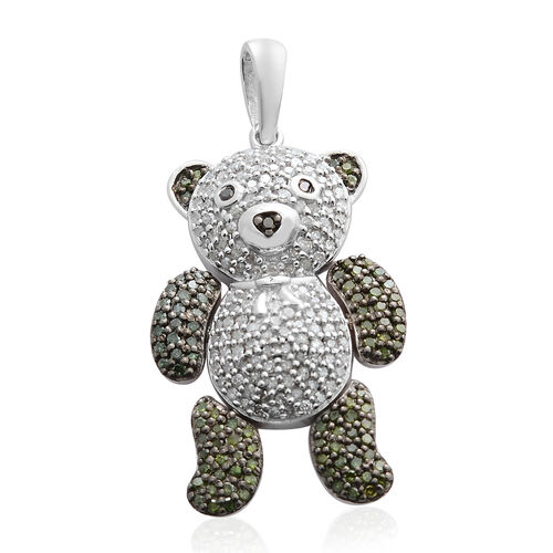 Diamond (Rnd), Green Diamond and Black Diamond Teddy Pendant in Black and Rhodium Plated Sterling Silver 1.001 Ct. Number of Diamonds 235