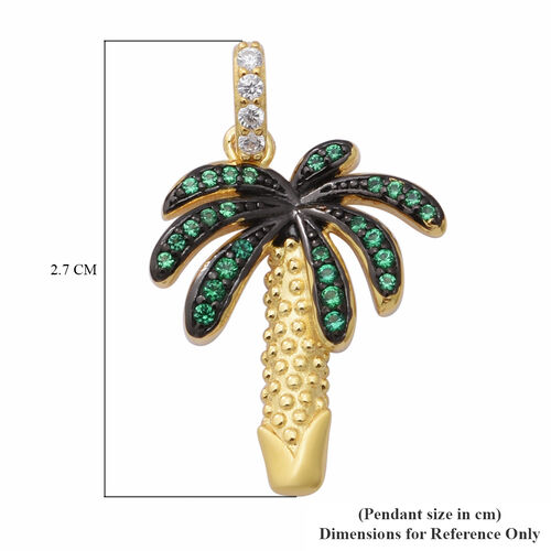 ELANZA AAA Simulated Diamond and Simulated Emerald Palm Tree Pendant in Black Plating, Yellow Gold and Rhodium Overlay Sterling Silver