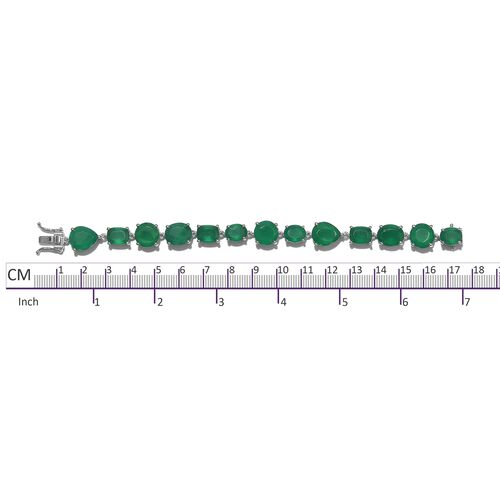 Cocktail Collection- Verde Onyx Bracelet (Size 6.5) in Platinum Overlay Sterling Silver 35.000 Ct. Silver wt 15.30 Gms.