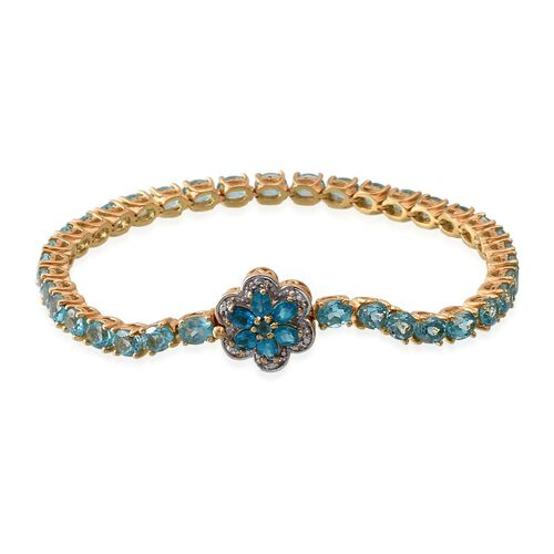 Paraiba Apatite (Ovl), Malgache Neon Apatite and White Topaz Floral Bracelet (Size 8) in 14K Gold Overlay Sterling Silver 13.250 Ct.