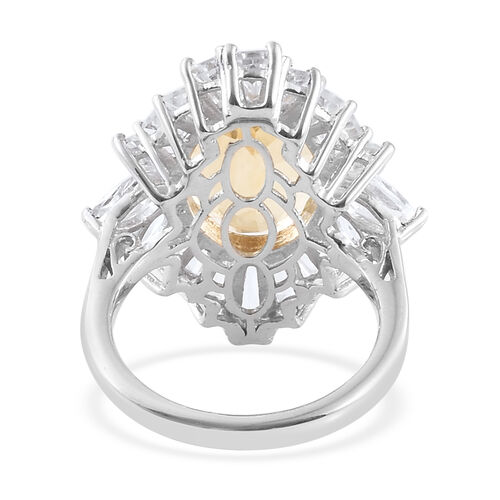 Designer Inspired- Citrine (Ovl 14x10 mm 5.30 Ct), White Topaz Ring in Platinum Overlay Sterling Silver 8.500 Ct.