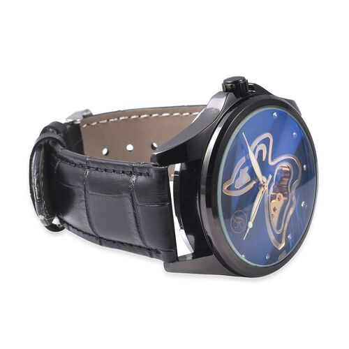 GENOA Automatic Butterfly Motif Skeleton White Austrian Crystal Studded Water Resistant Watch in Dual Tone with Leather Strap - Black