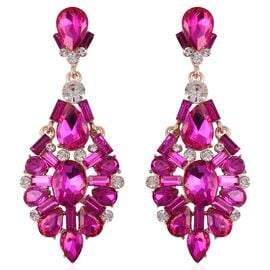Simulated Rubellite and White Austrian Crystal Earrings in Rose Tone