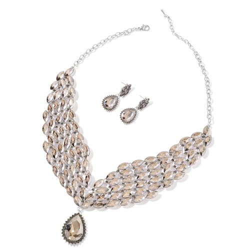 AAA Simulated Smoky Quartz and Grey Austrian Crystal Collar Necklace (Size 20 with 3 inch Extender) and Earrings (with Push Back) in Silver Tone