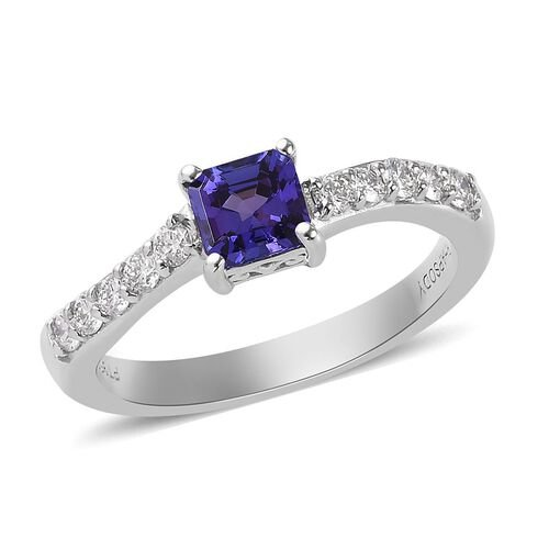 RHAPSODY 950 Platinum AAAA Tanzanite and Diamond (VS/E-F) Ring  1.00 Ct, Platinum wt. 5.50 Gms