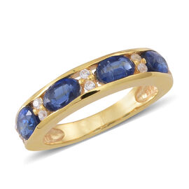 Himalayan Kyanite (Ovl), Natural Cambodian White Zircon Ring in 14K Gold Overlay Sterling Silver 3.0