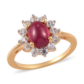 African Ruby and Natural Cambodian Zircon Halo Ring in 14K Gold Overlay Sterling Silver 2.75 Ct.