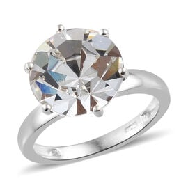 J Francis Crystal from Swarovski - White Colour Crystal (Rnd 11.5mm) Solitaire Ring in Sterling Silver