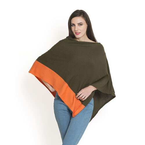 Olive and Orange Colour Jacquard Pattern Poncho (One Size Fits All)