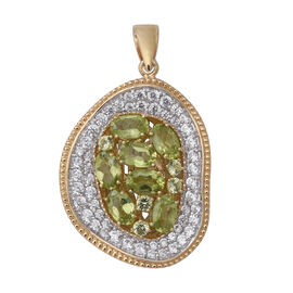 Designer Inspired- Hebei Peridot (Ovl), Natural Cambodian White Zircon Pendant in Two Tone Plating S