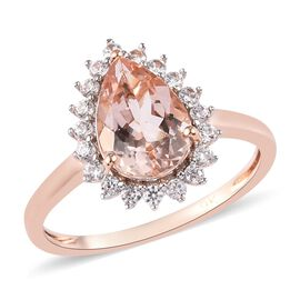 9K Rose Gold Marropino Morganite and Natural Cambodian Zircon Ring 2.00 Ct.