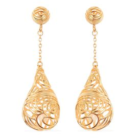 Isabella Liu Sea Rhyme White Mother of Pearl Dangle Earrings in Gold Plated Silver 7.98 Grams