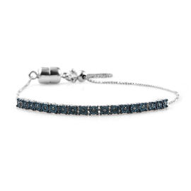 Blue Diamond Platinum Overlay Sterling Silver Bracelet (Size 6-9.5 Adjustable) with Magnetic Lock, 0.250 Ct,