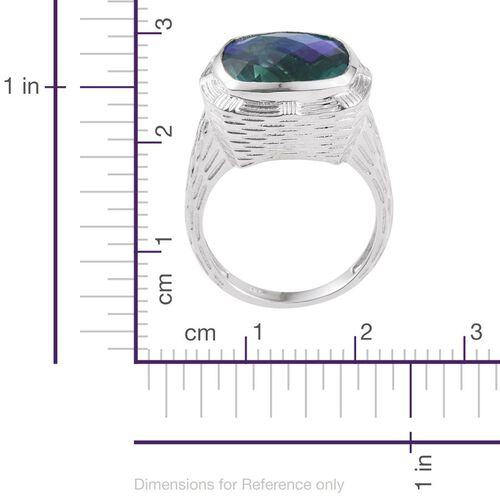 Checkerboard Cut Peacock Quartz (Cush) Ring in Platinum Overlay Sterling Silver 11.000 Ct. Silver wt 8.73 Gms.
