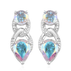 Mercury Mystic Topaz Earrings (with Push Back) in Platinum Overlay Sterling Silver 3.75 Ct.