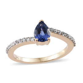 9K Yellow Gold AAA Royal Ceylon Sapphire (Pear), Natural Cambodian Zircon Ring 1.230 Ct.