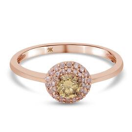 9K Rose Gold Natural Champagne & Pink Diamond Ring 0.50 Ct.