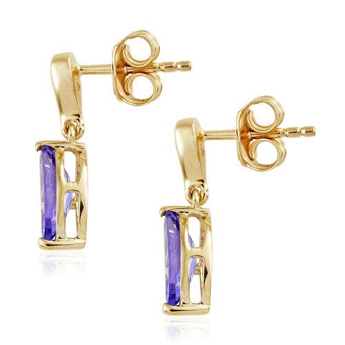 9K Yellow Gold AA Tanzanite (Mrq), Diamond Earrings (with Push Back) 1.600 Ct.