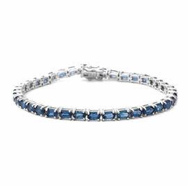 Indigo Kyanite Tennis Bracelet (Size 7) in Rhodium Overlay Sterling Silver 11.55 Ct, Silver wt. 8.79