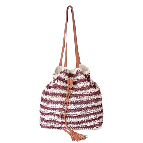 Hot Summer Woven Purple and Cream Colour Tote Bag (Size 34.5x33x12 Cm)