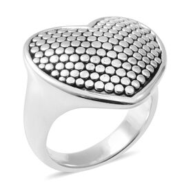 Thai Sterling Silver Heart Ring, Silver wt 6.18 Gms.