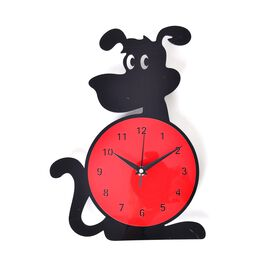 Modern Stylish Black and Red Dog Design Wall Clock