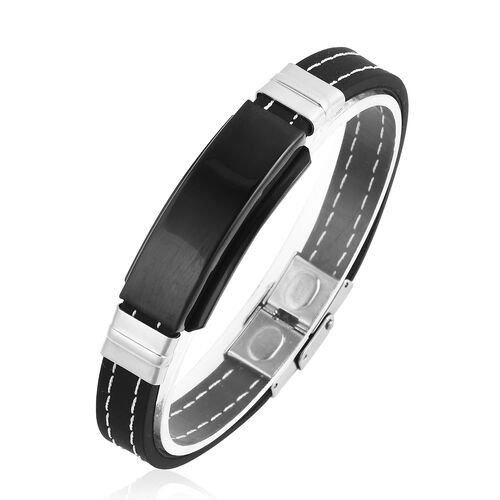 Men Bracelet (Size 8.25) in Black and Silver Plated Stainless Steel