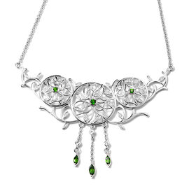 LucyQ Russian Diopside (Rnd and Mrq), Natural Cambodian Zircon Leaf Vine Dream Catcher Necklace (Siz