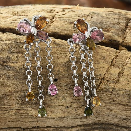 Rainbow Tourmaline (Pear) Dangle Butterfly Earrings (with Push Back) in Platinum Overlay Sterling Silver 3.250 Ct.