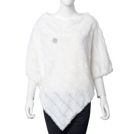 White Colour Faux Fur Poncho and Brooch (Size 95x78 Cm)