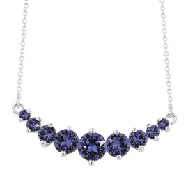 J Francis Crystal from Swarovski - Tanzanite Colour Crystal (Rnd) Necklace (Size 18) in Sterling Silver