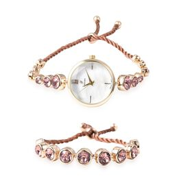 2 Piece Set - J Francis Crystal from Swarovski - Vintage Rose Crystal (Rnd) GENOA Japanese Movement