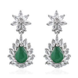 3.25 Ct Zambian Emerald and White Topaz Drop Earrings in Sterling Silver With Push Back