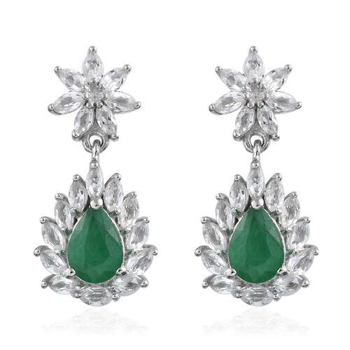 3.25 Ct Zambian Emerald and White Topaz Drop Earrings in Platinum Plated Sterling Silver With Push B