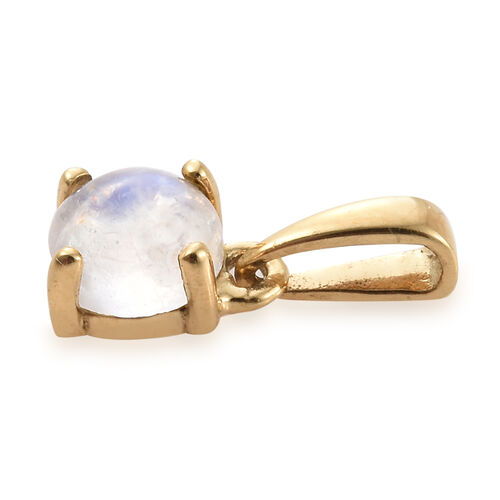 Rainbow Moonstone (Rnd) Solitaire Pendant in 14K Gold Overlay Sterling Silver 0.500 Ct