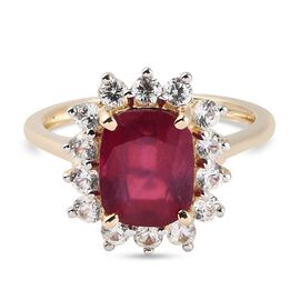 9k Yellow Gold AA Ruby African (FF) and Natural Cambodian Zircon Ring 4.44 Ct