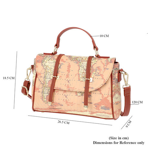 Close Out Deal- Satchel Bag with World Map Print and Adjustable Shoulder Strap (26.5x9x18.5cm) - Khaki
