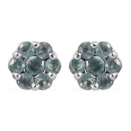 0.25 Ct Narsipatnam Alexandrite Floral Stud Earrings in Platinum Plated Sterling Silver