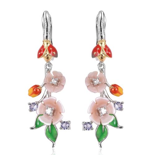JARDIN COLLECTION - Pink Mother of Pearl, Tanzanite and Natural White Cambodian Zircon Floral Enamel