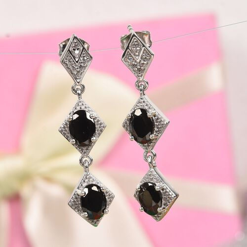 Elite Shungite and Natural Cambodian Zircon Dangle Earrings (with Push Back) in Platinum Overlay Sterling Silver 1.85 Ct, Silver wt 5.00 Gms