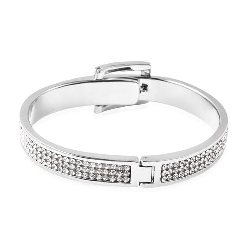 White Austrian Crystal Belt Buckle Hinged Bangle (Size 6.5) in Silver Tone