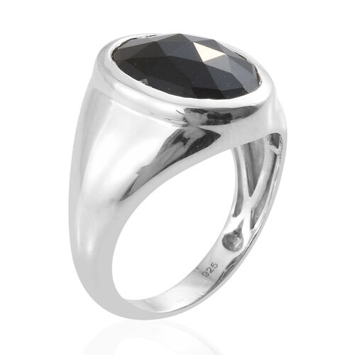 Black Tourmaline (Ovl 16x12 mm) Ring in Platinum Overlay Sterling Silver 8.500 Ct, Silver wt 5.49 Gms