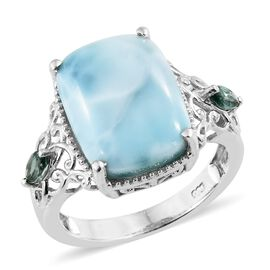 Larimar (Cush), Ocean Blue Apatite Ring in Platinum Overlay Sterling Silver 11.750 Ct.
