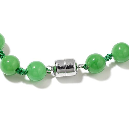 Carved Green Jade Necklace (Size 18) with Magnetic Lock in Rhodium Overlay Sterling Silver 455.00 Ct.