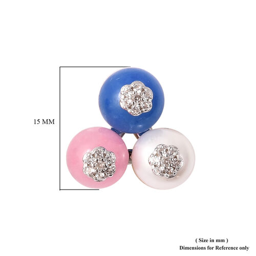 GP - Freshwater Pearl and Multi Gemstone Stud Earrings (with Push Back) in Rhodium Overlay Sterling Silver 17.62 Ct.