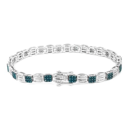 Designer Inspired - Blue and White Diamond Bracelet (Size 7.5) in Rhodium Plated Sterling Silver 1.500 Ct. Silver wt 14.95 Gms.