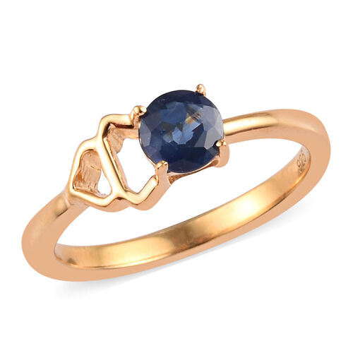 Madagascar Blue Sapphire Ring in 14K Yellow Gold Overlay Sterling Silver 0.50 Ct.